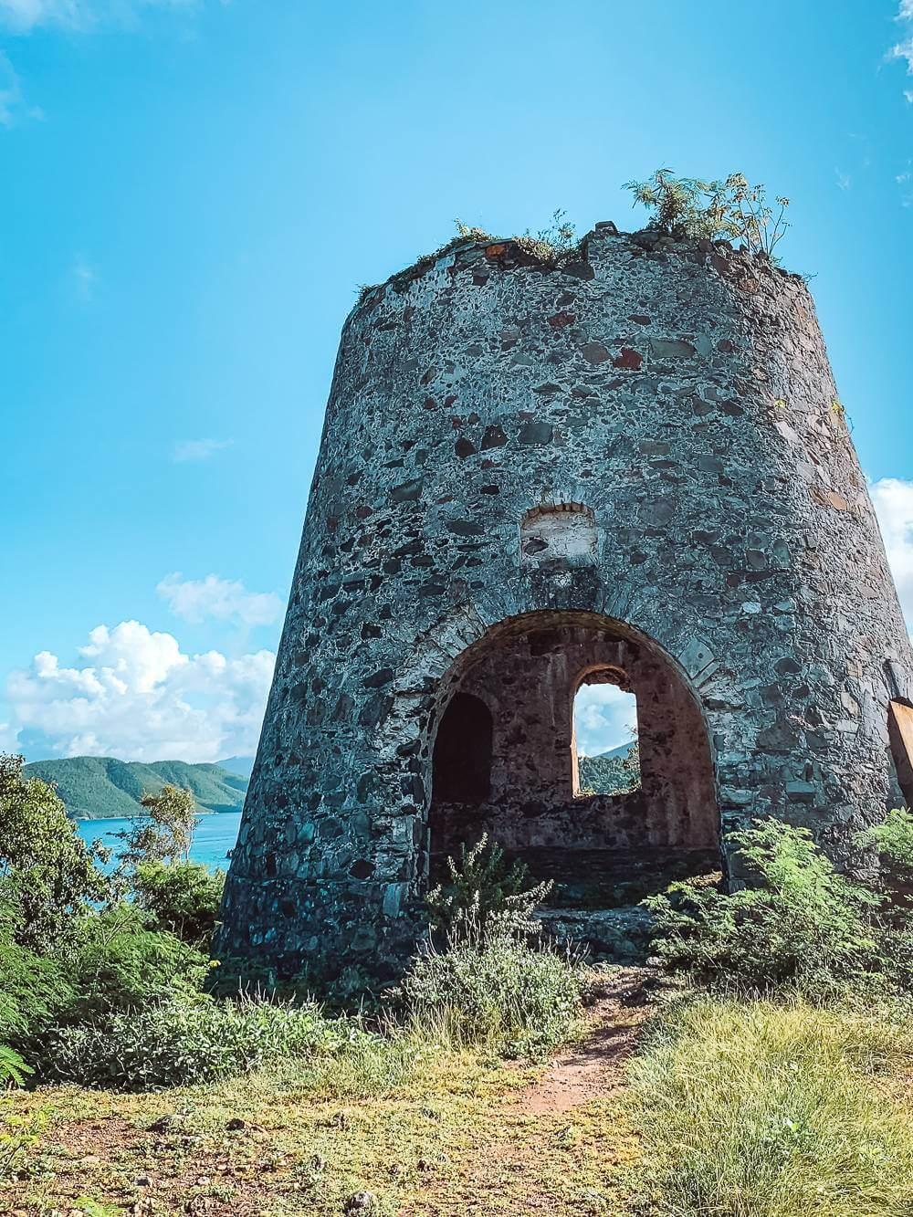 Peace Hill windmill overlooking various North Shore beaches in St John USVI